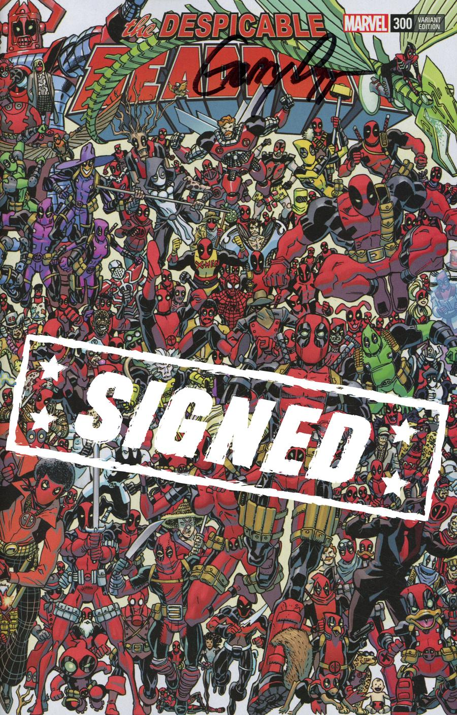 Despicable Deadpool #300 Cover H Variant Scott Koblish 300 Deadpools Wraparound Cover Signed By Gerry Duggan