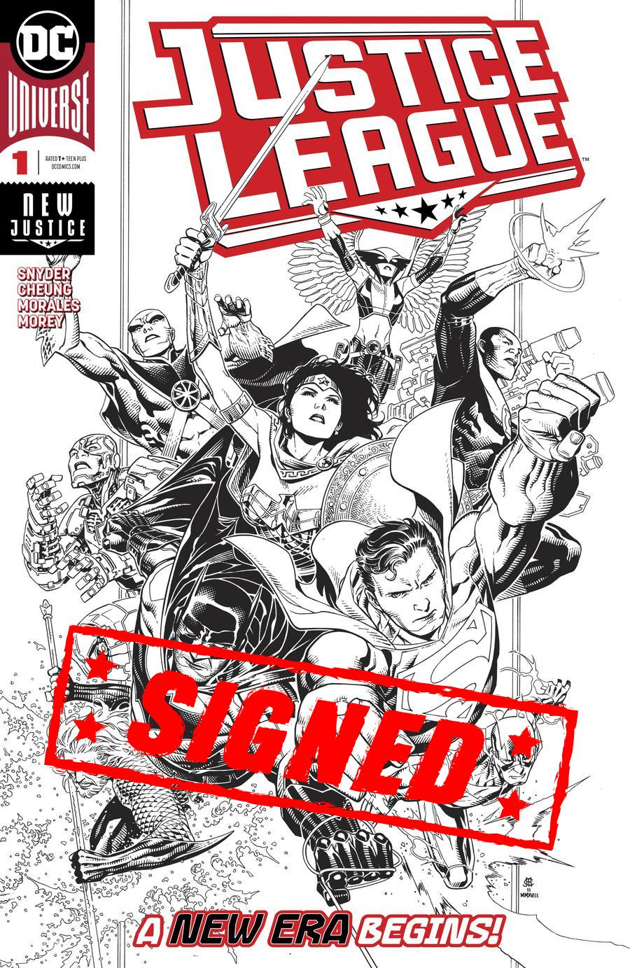 Justice League Vol 4 #1 Cover P Incentive Jim Cheung Inks Only Cover Signed By Scott Snyder