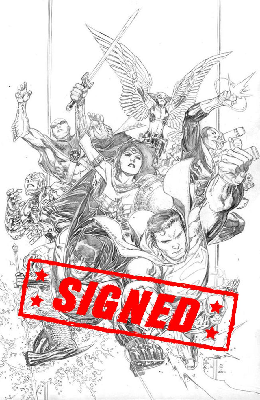 Justice League Vol 4 #1 Cover Q Incentive Jim Cheung Pencils Only Cover Signed By Scott Snyder