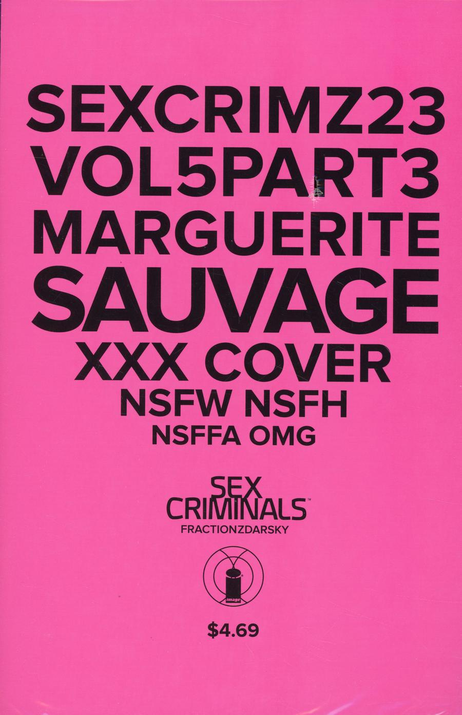 Sex Criminals #23 Cover C Variant Marguerite Sauvage XXX Cover Without Polybag