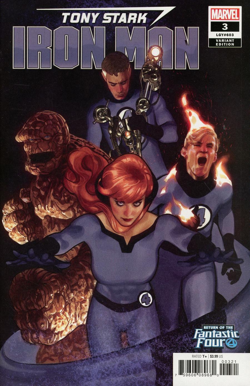 Tony Stark Iron Man #3 Cover B Variant Adam Hughes Return Of The Fantastic Four Cover