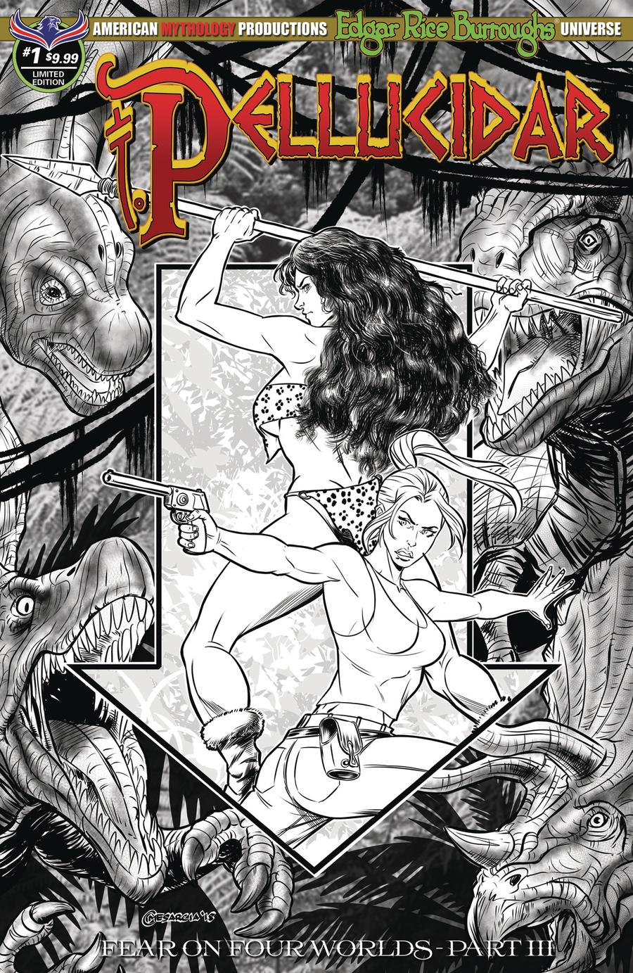 Pellucidar #1 Cover D Variant Cyrus Mesarcia Black & White Limited Edition Cover (Fear On Four Worlds Part 3)