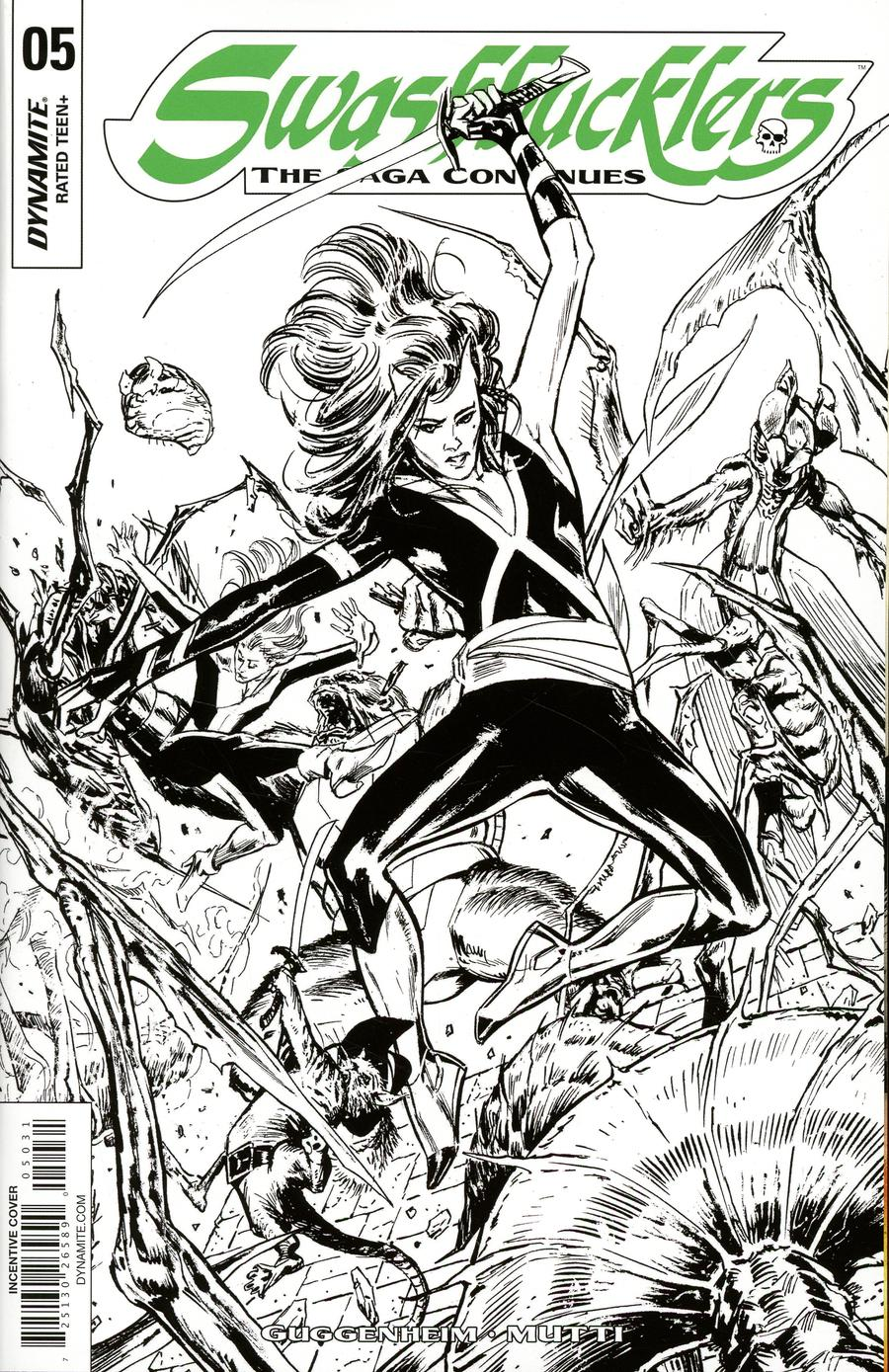 Swashbucklers Saga Continues #5 Cover C Incentive Butch Guice Black & White Cover