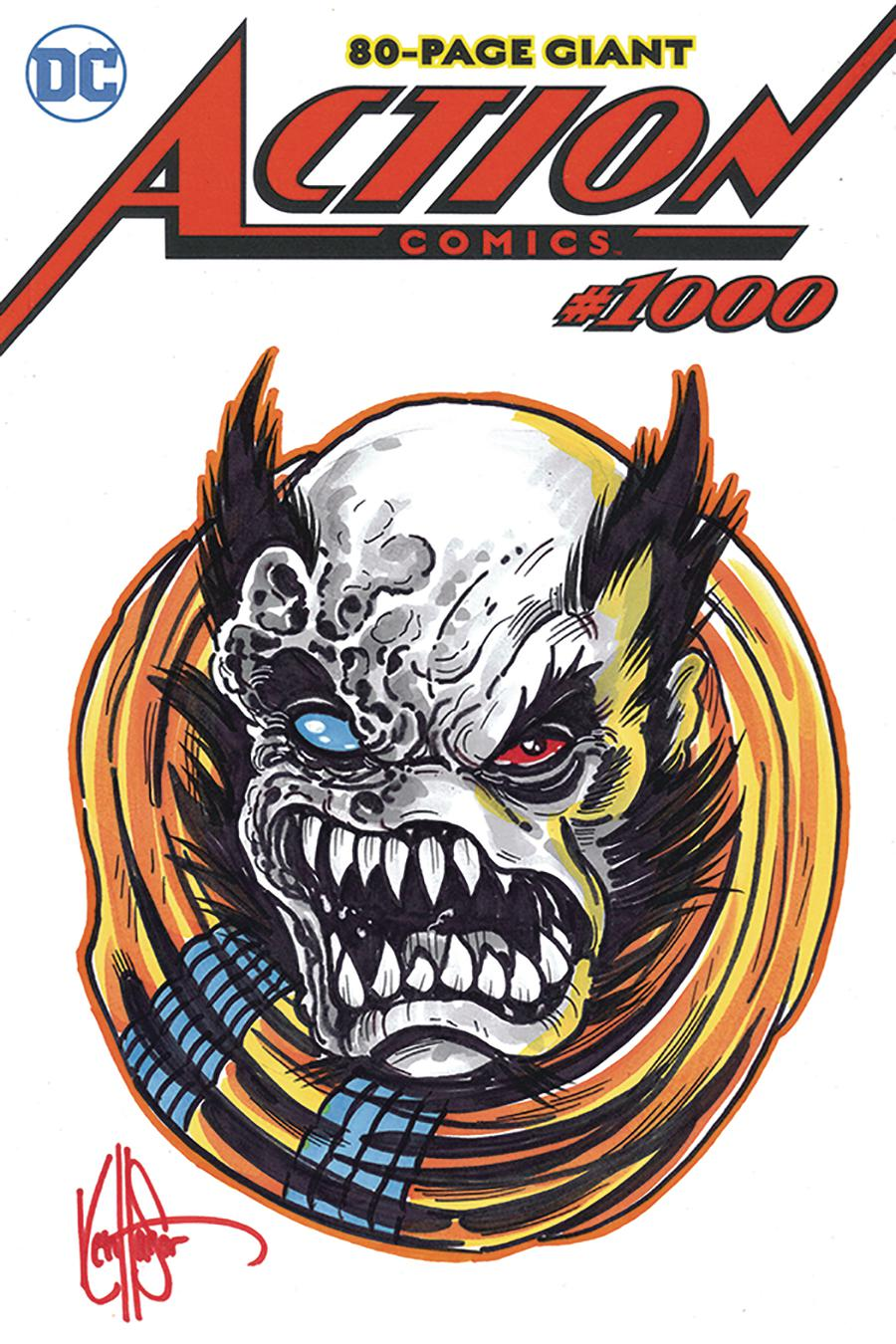 Action Comics Vol 2 #1000 Cover Z-D DF Signed & Remarked With A Rogol Zarr Sketch By Ken Haeser