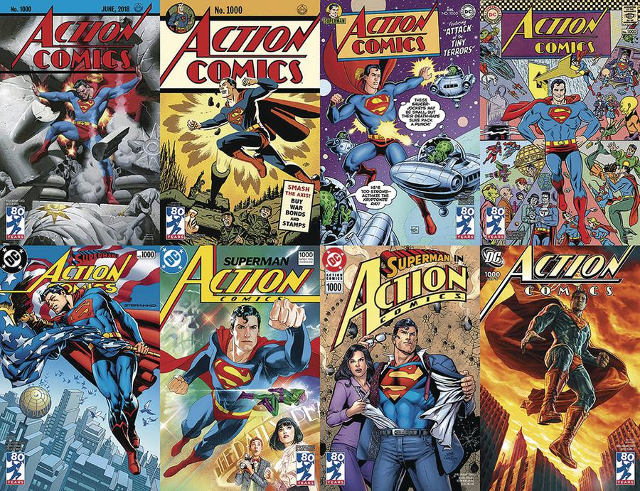 Action Comics Vol 2 #1000 Cover Z-H DF Decades Spanning Variant Cover Complete Set Silver Signature Series Signed By Dan Jurgens