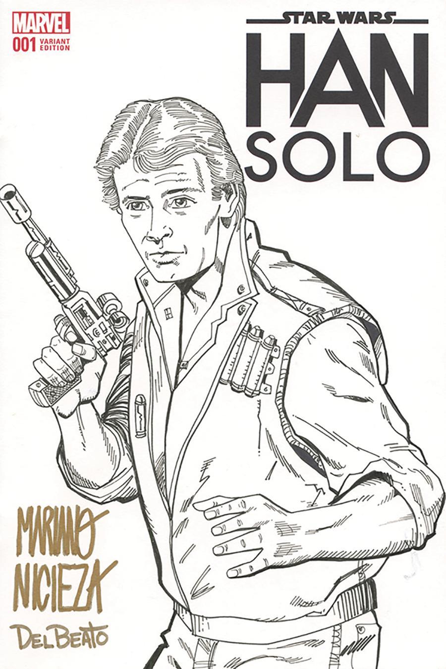 Star Wars Han Solo #1 Cover K DF Signed & Remarked With A Han Solo Sketch By Mariano Nicieza & Joe Delbeato