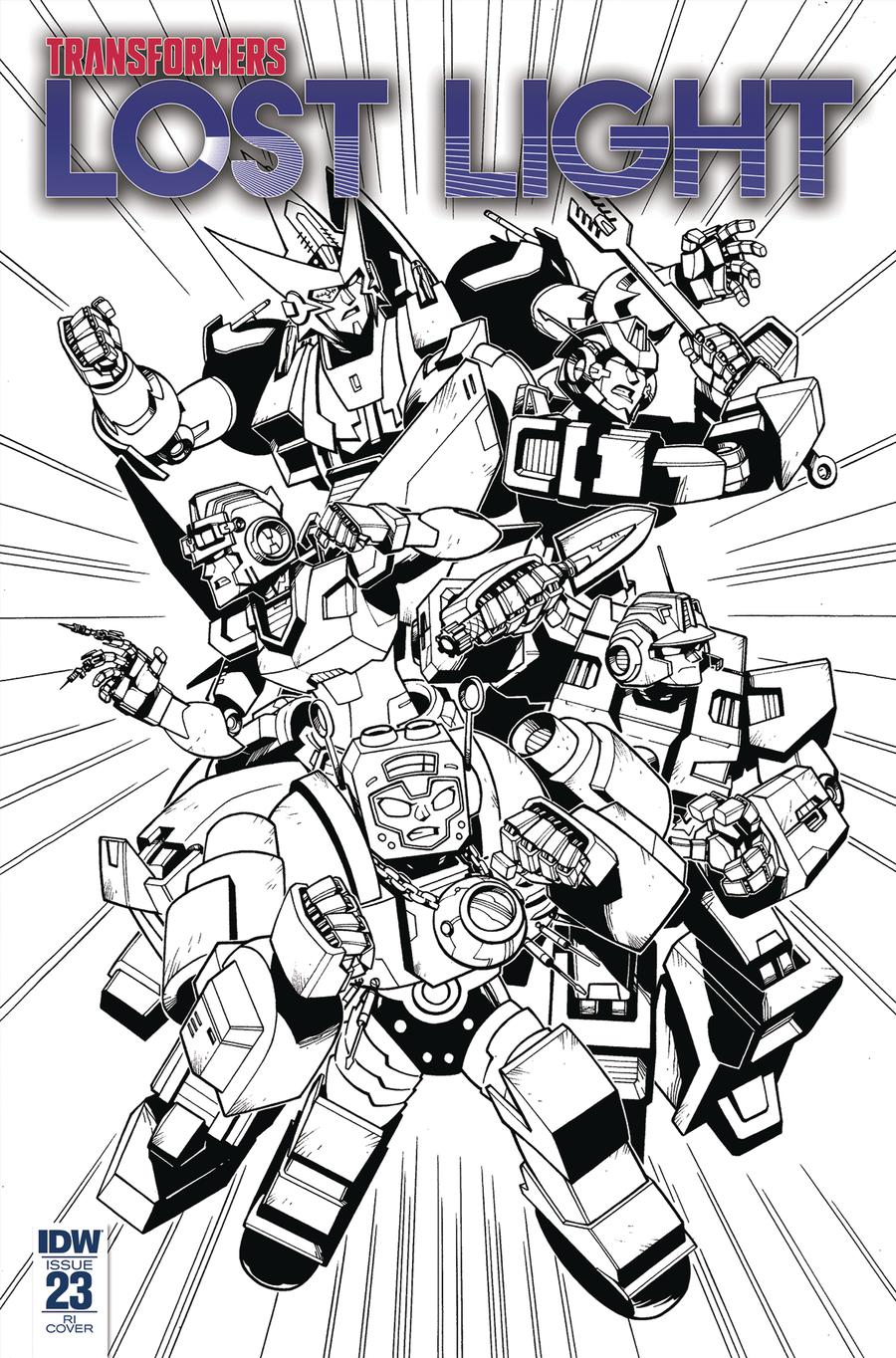 Transformers Lost Light #23 Cover C Incentive Jack Lawrence Black & White Cover