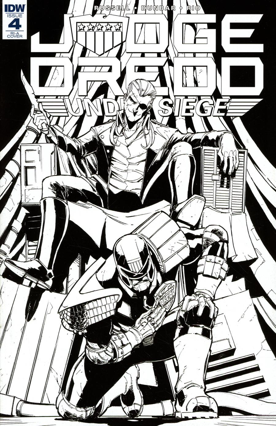 Judge Dredd Under Siege #4 Cover C Incentive Max Dunbar Black & White Cover