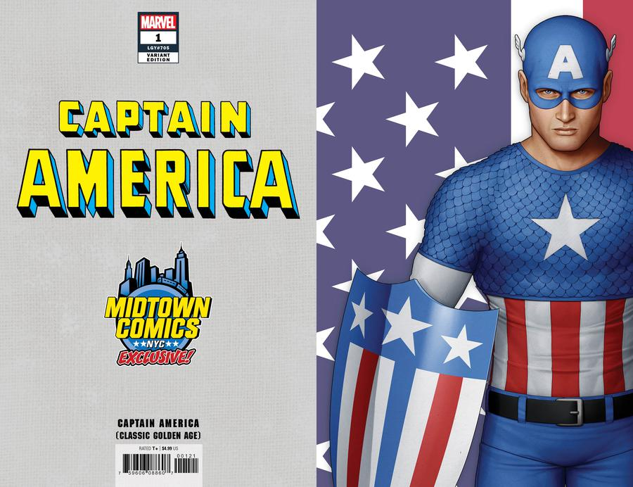 Captain America Vol 9 #1  Midtown Exclusive John Tyler Christopher Cover B Classic Golden Age Virgin Variant