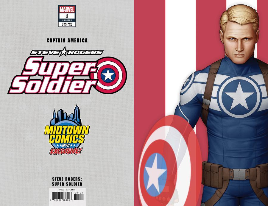 Captain America Vol 9 #1  Midtown Exclusive John Tyler Christopher Cover C Steve Rogers Super Soldier Virgin Variant