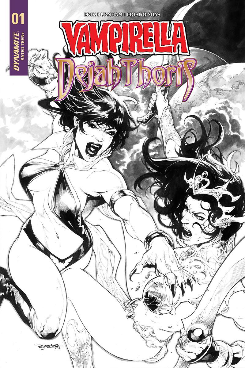 Vampirella Dejah Thoris #1 Cover J Incentive Stephen Segovia Black & White Cover