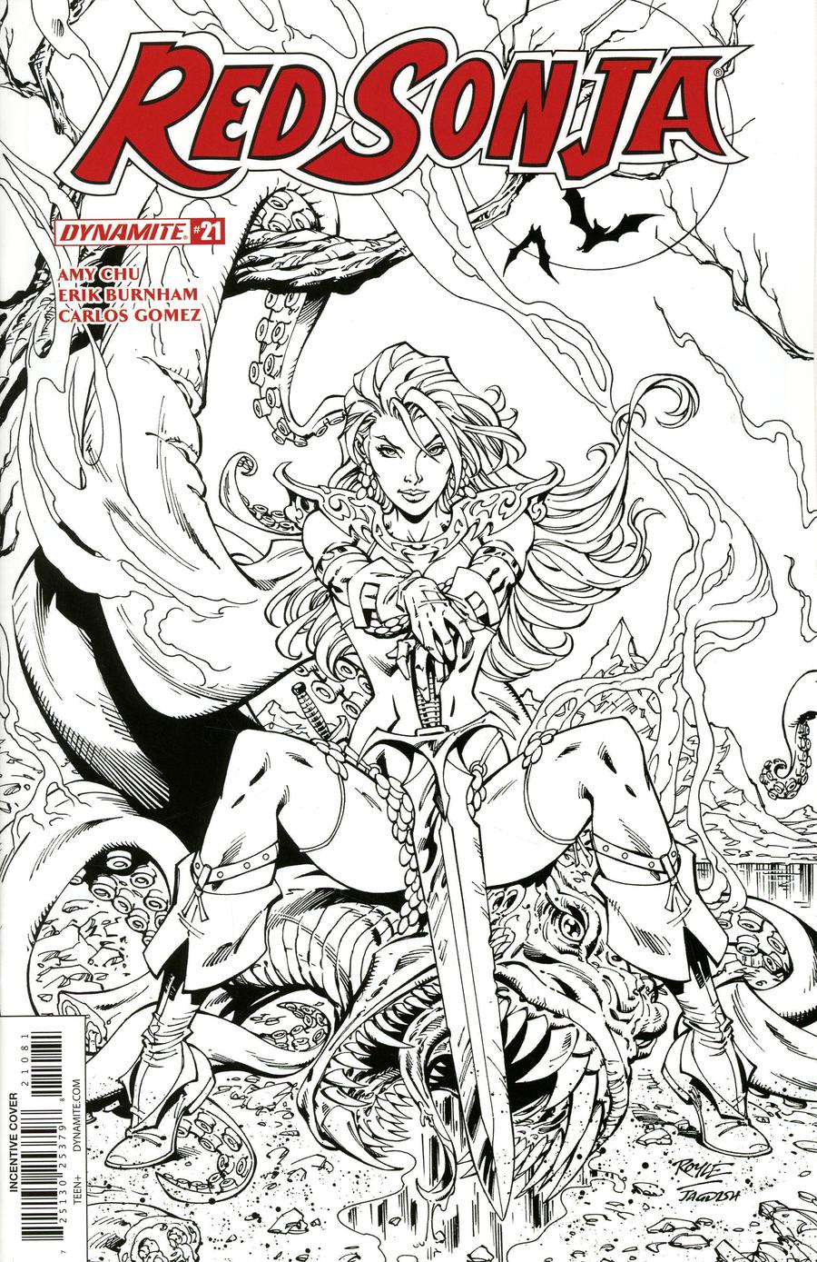 Red Sonja Vol 7 #21 Cover H Incentive John Royle Black & White Cover