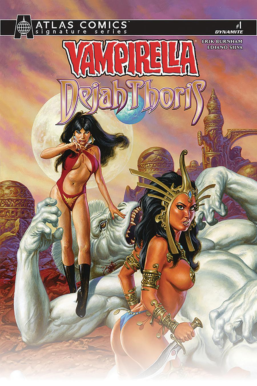 Vampirella Dejah Thoris #1 Cover N Atlas Comics Signature Series Signed By Erik Burnham