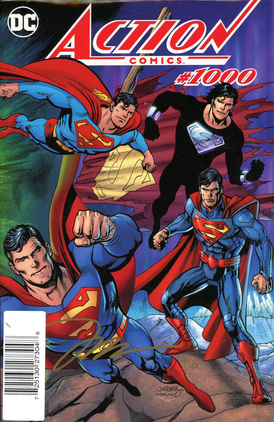 Action Comics Vol 2 #1000 Cover Z-S DF Exclusive Color Wraparound Cover Gold Signature Series Signed By Jim Lee
