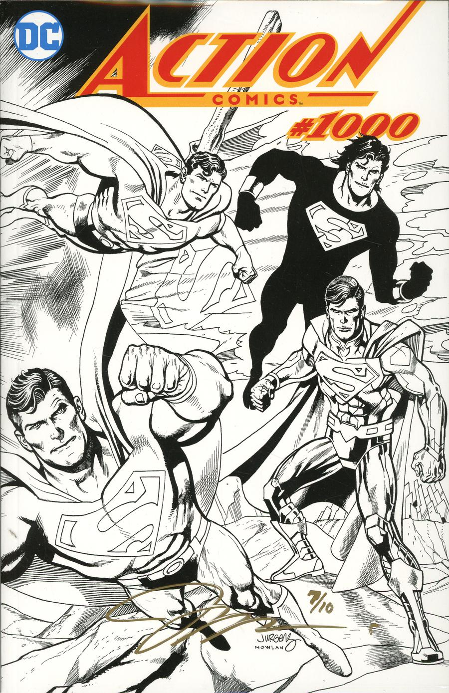 Action Comics Vol 2 #1000 Cover Z-T DF Exclusive Black & White Wraparound Cover Gold Signature Series Signed By Jim Lee