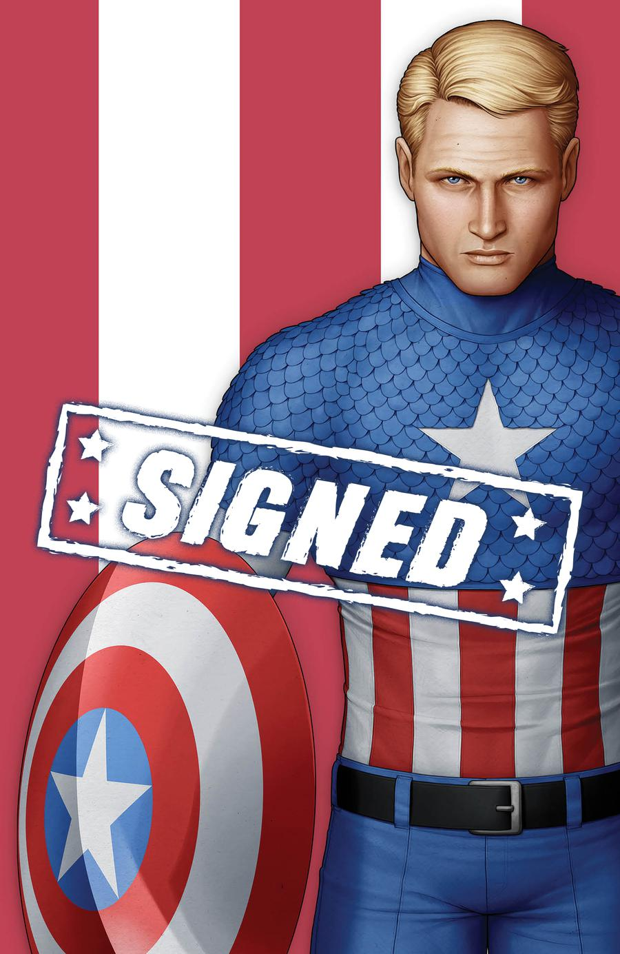 Captain America Vol 9 #1  Midtown Exclusive John Tyler Christopher Cover R Unmasked Captain America Virgin Variant Signed By John Tyler Christopher