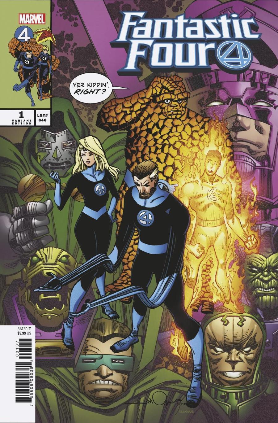 Fantastic Four Vol 6 #1 Cover N Variant Walter Simonson Cover