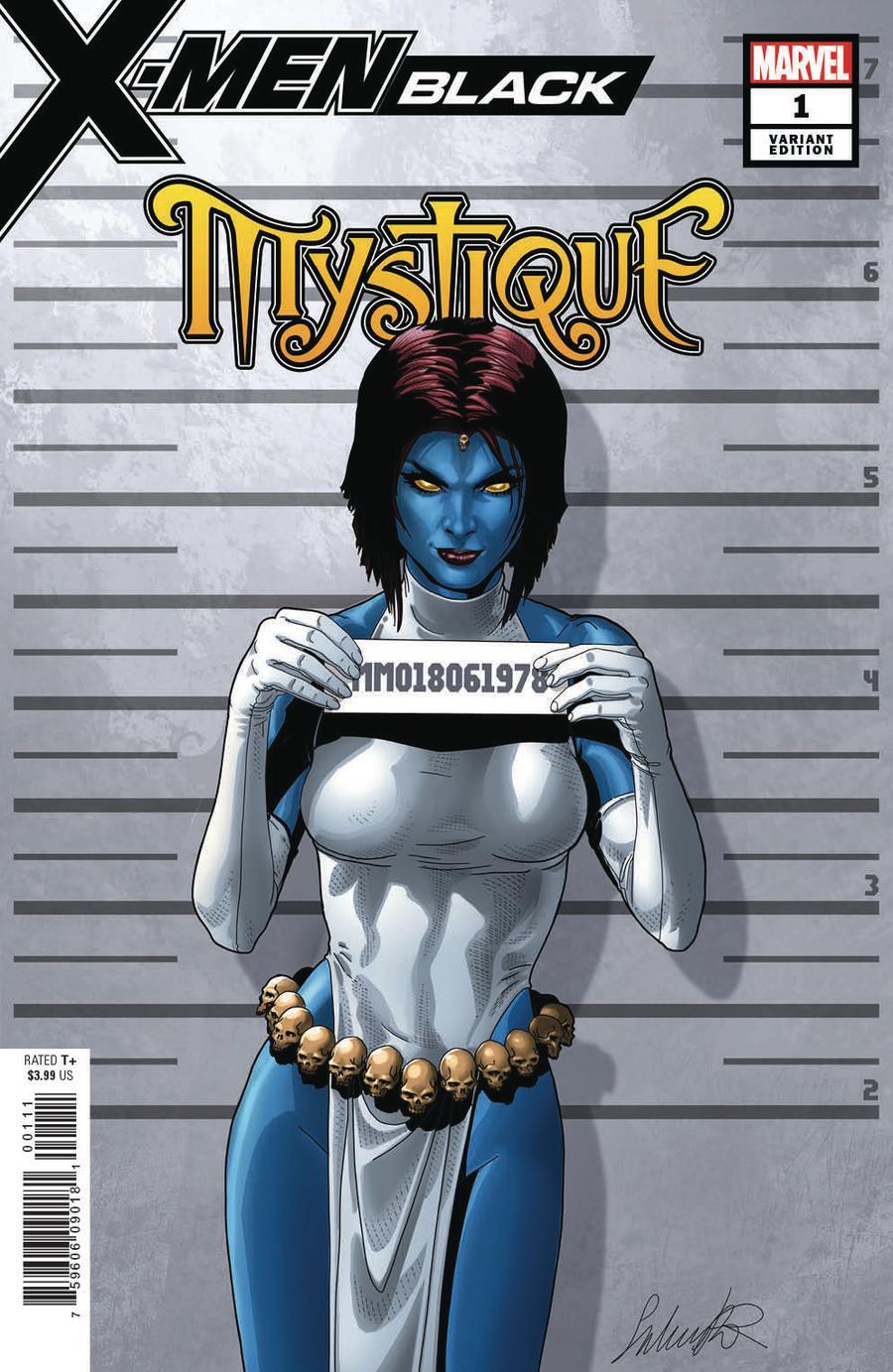 X-Men Black Mystique #1 Cover B Variant Salvador Larroca Mugshot Cover