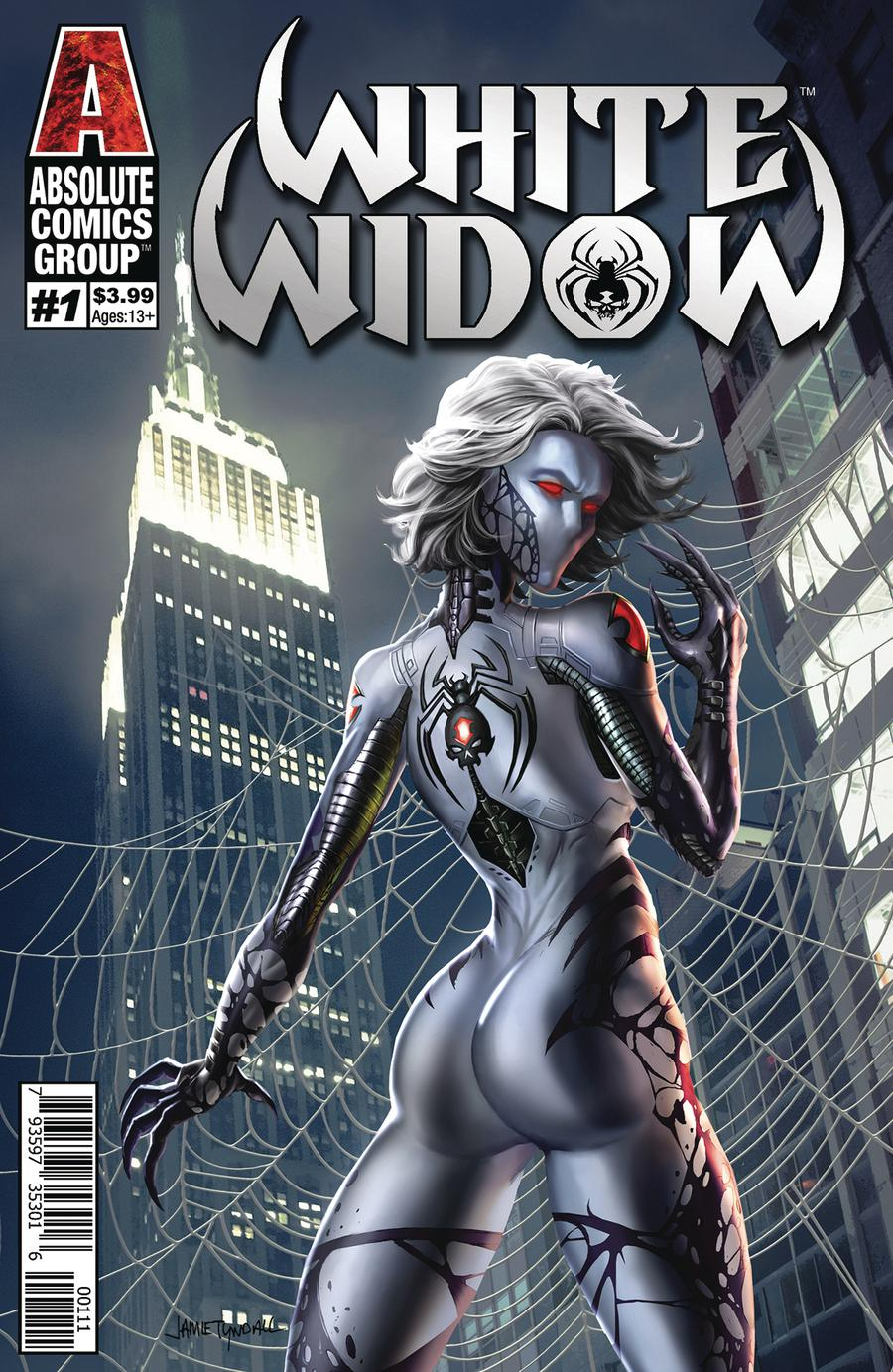 White Widow #1 Cover A Regular Jamie Tyndall Silver Holographic Foil Logo Cover