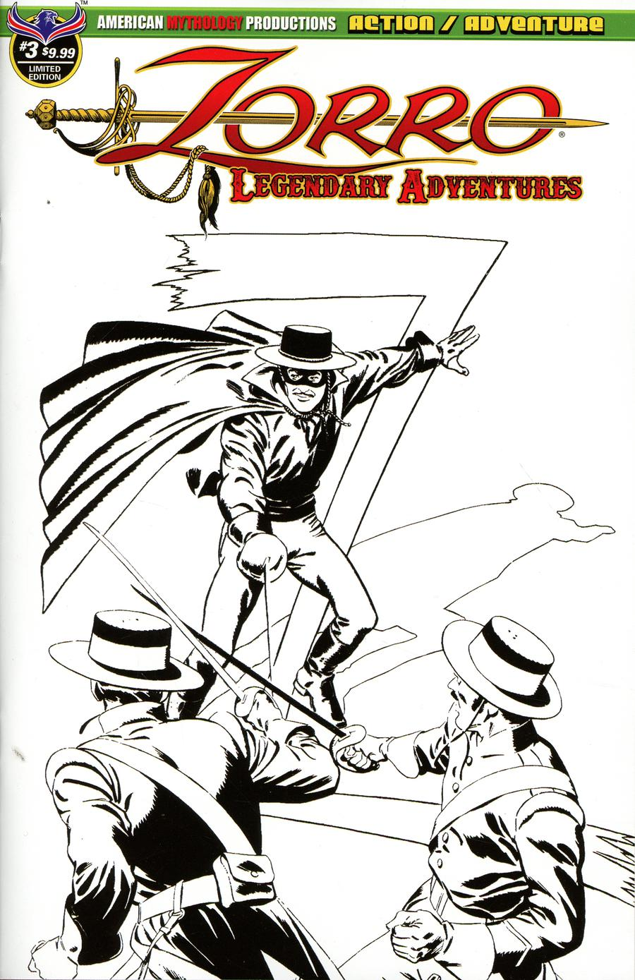 Zorro Legendary Adventures #3 Cover B Variant Francisco Cueto Blazing Blades Of Zorro Limited Edition Cover