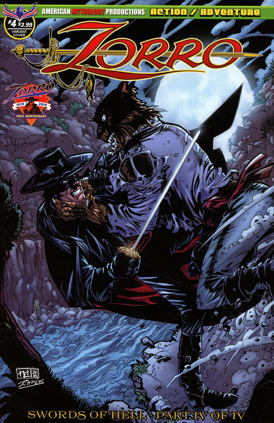 Zorro Swords Of Hell #4 Cover B Variant Neil Vokes Werewolf Attack Cover