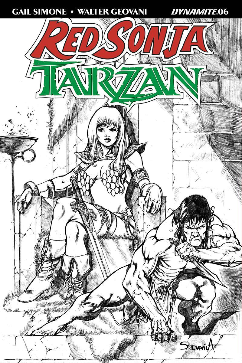Red Sonja Tarzan #6 Cover F Incentive Sergio Davila Black & White Cover