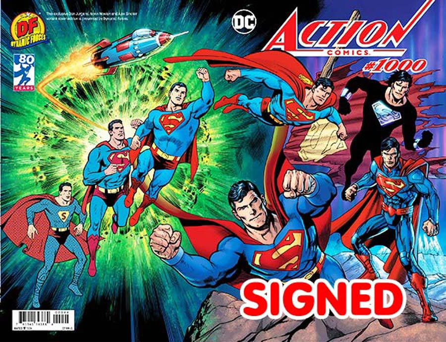 Action Comics Vol 2 #1000 Cover Z-Z DF Exclusive Dan Jurgens Color Wraparound Variant Cover Signed By Peter Tomasi