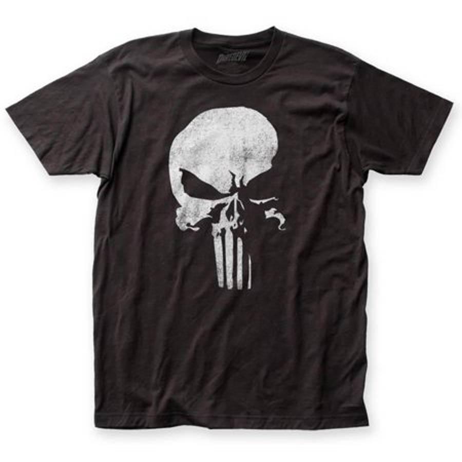 Daredevil Punisher Logo Fitted Jersey Black Mens T-Shirt Large