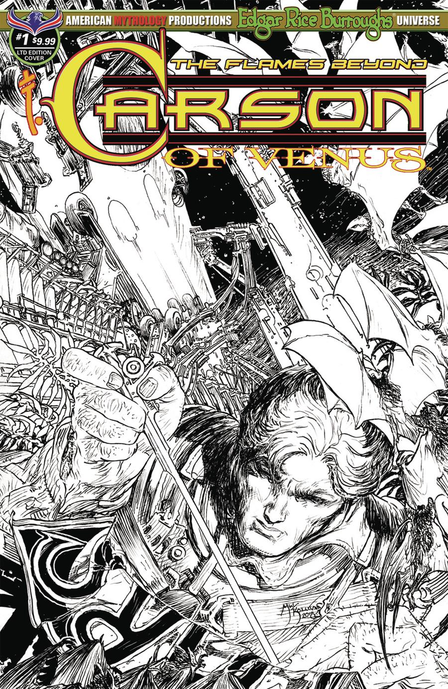 Carson Of Venus Flames Beyond #1 Cover C Variant Michael William Kaluta Limited Edition Black & White Cover