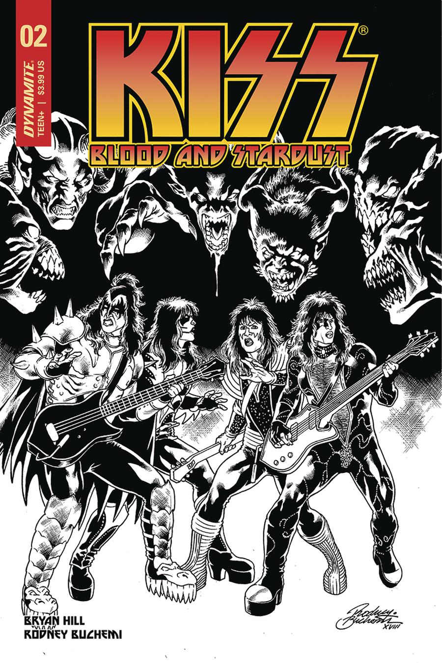 KISS Blood And Stardust #2 Cover E Incentive Rodney Buchemi Black & White Cover