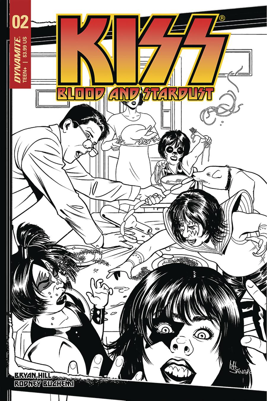 KISS Blood And Stardust #2 Cover G Incentive Maria Sanapo Black & White Cover