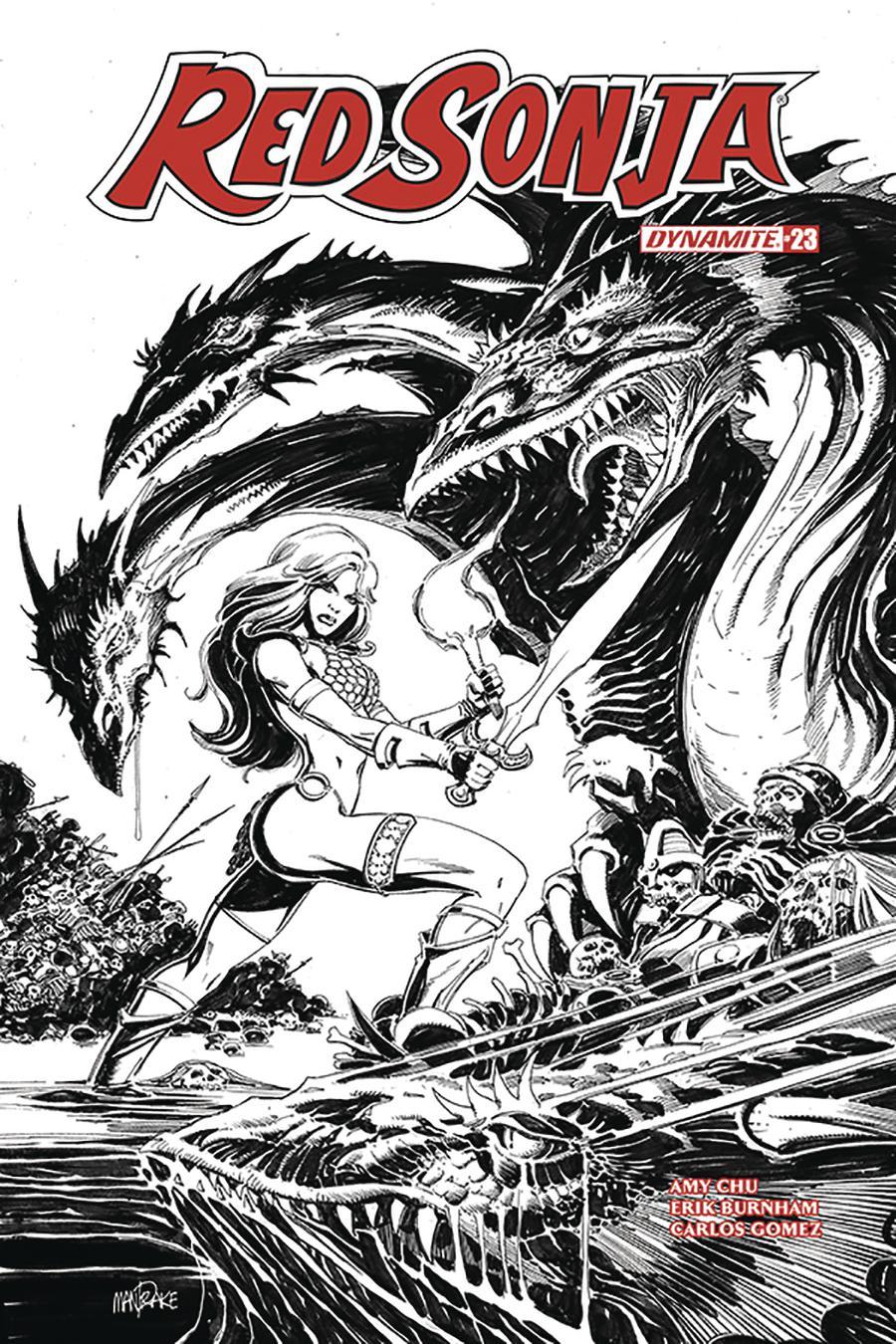 Red Sonja Vol 7 #23 Cover H Incentive Tom Mandrake Black & White Cover