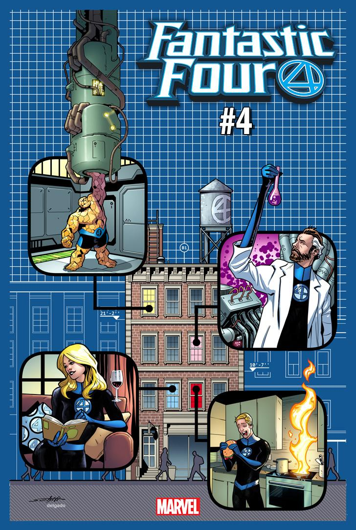 Fantastic Four Vol 6 #4 Cover E Incentive Valerio Schiti 4 Yancy Street Variant Cover
