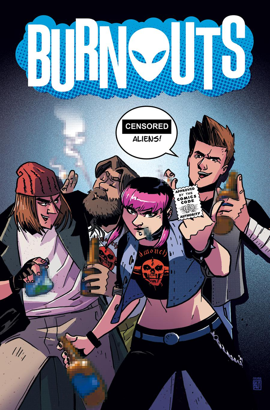 Burnouts #1 Cover B Variant Geoffo CBLDF Charity Censored Cover