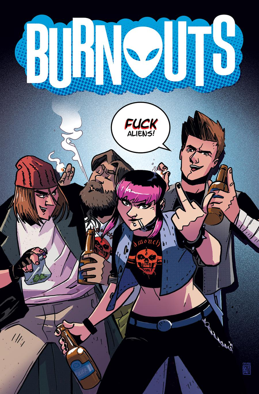 Burnouts #1 Cover C Variant Geoffo CBLDF Charity Uncensored Cover