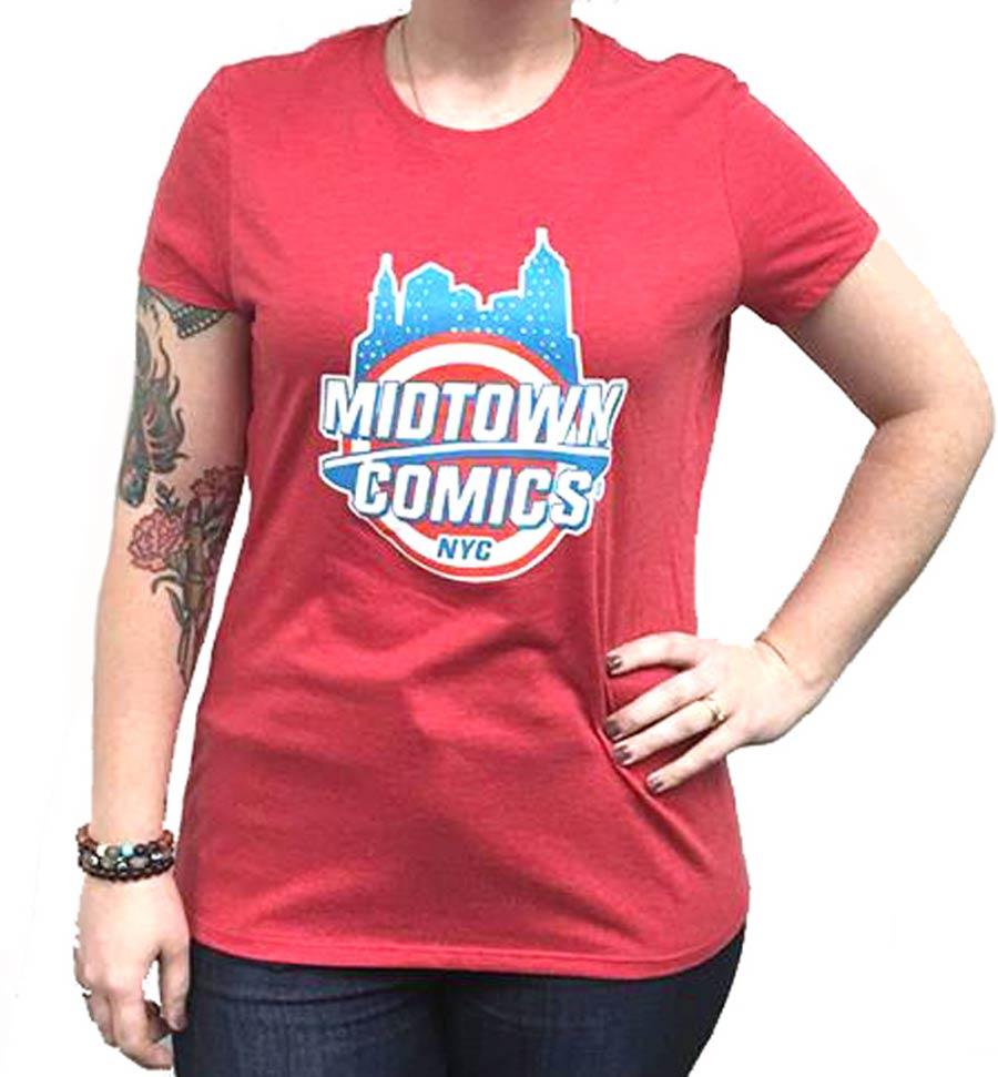 Midtown Comics Shield Logo Juniors Red T-Shirt Large