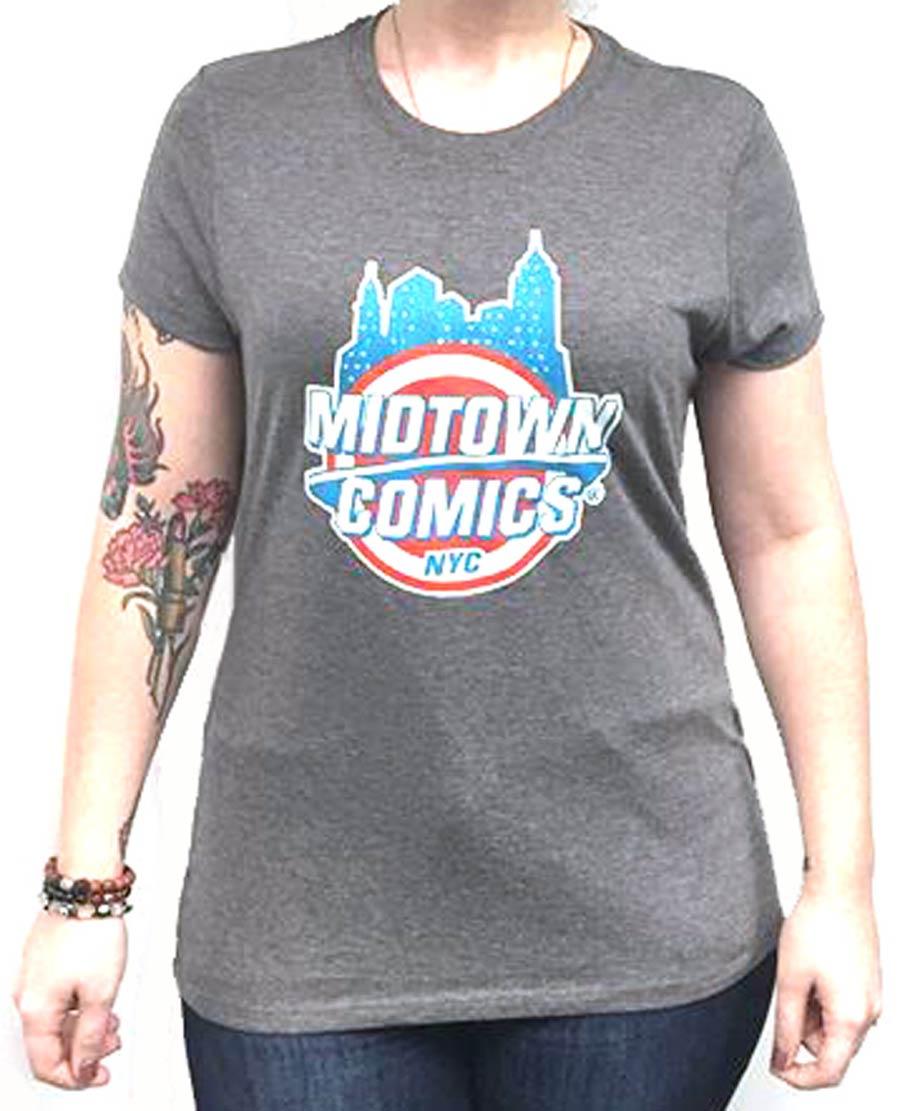 Midtown Comics Shield Logo Juniors Darker Grey T-Shirt Large