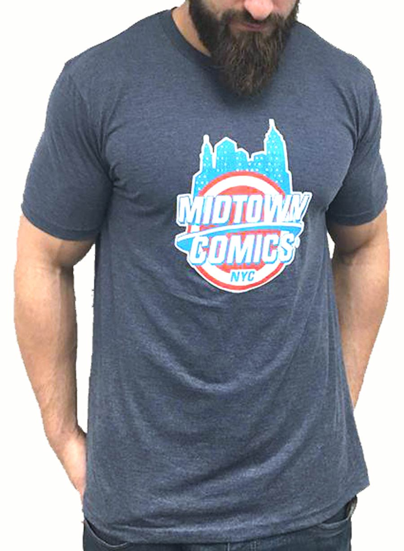 Midtown Comics Shield Logo Mens Navy T-Shirt Large