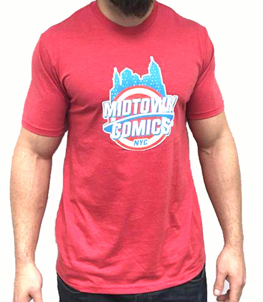 Midtown Comics Shield Logo Mens Red T-Shirt Large