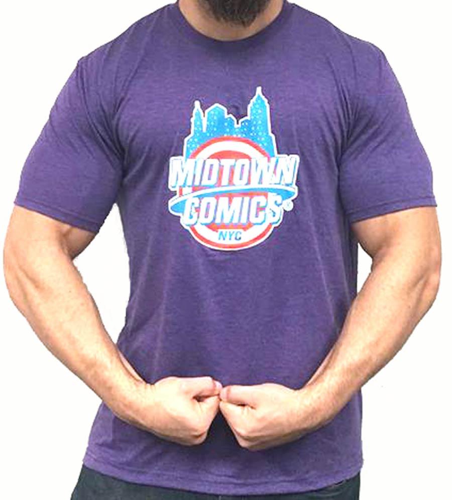 Midtown Comics Shield Logo Mens Purple T-Shirt Large