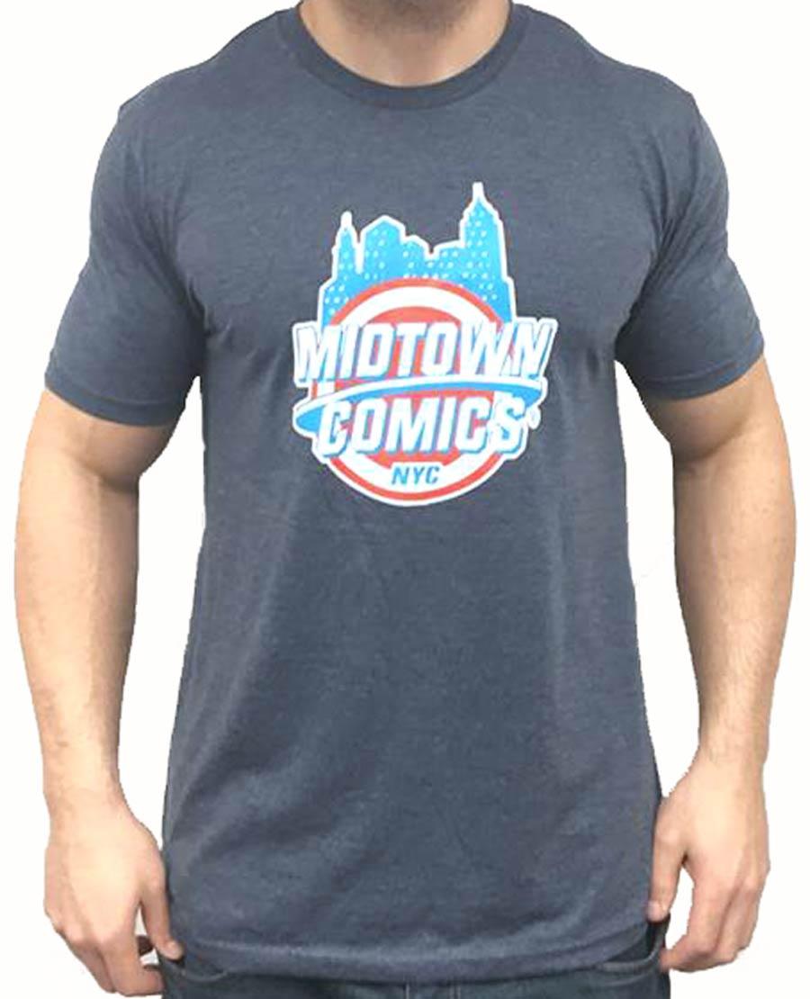 Midtown Comics Shield Logo Mens Darker Grey T-Shirt Large