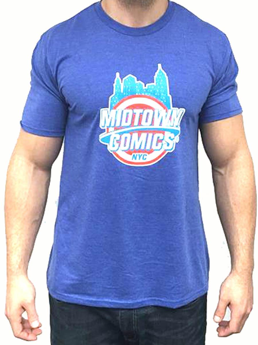 Midtown Comics Shield Logo Mens Royal Blue T-Shirt Large