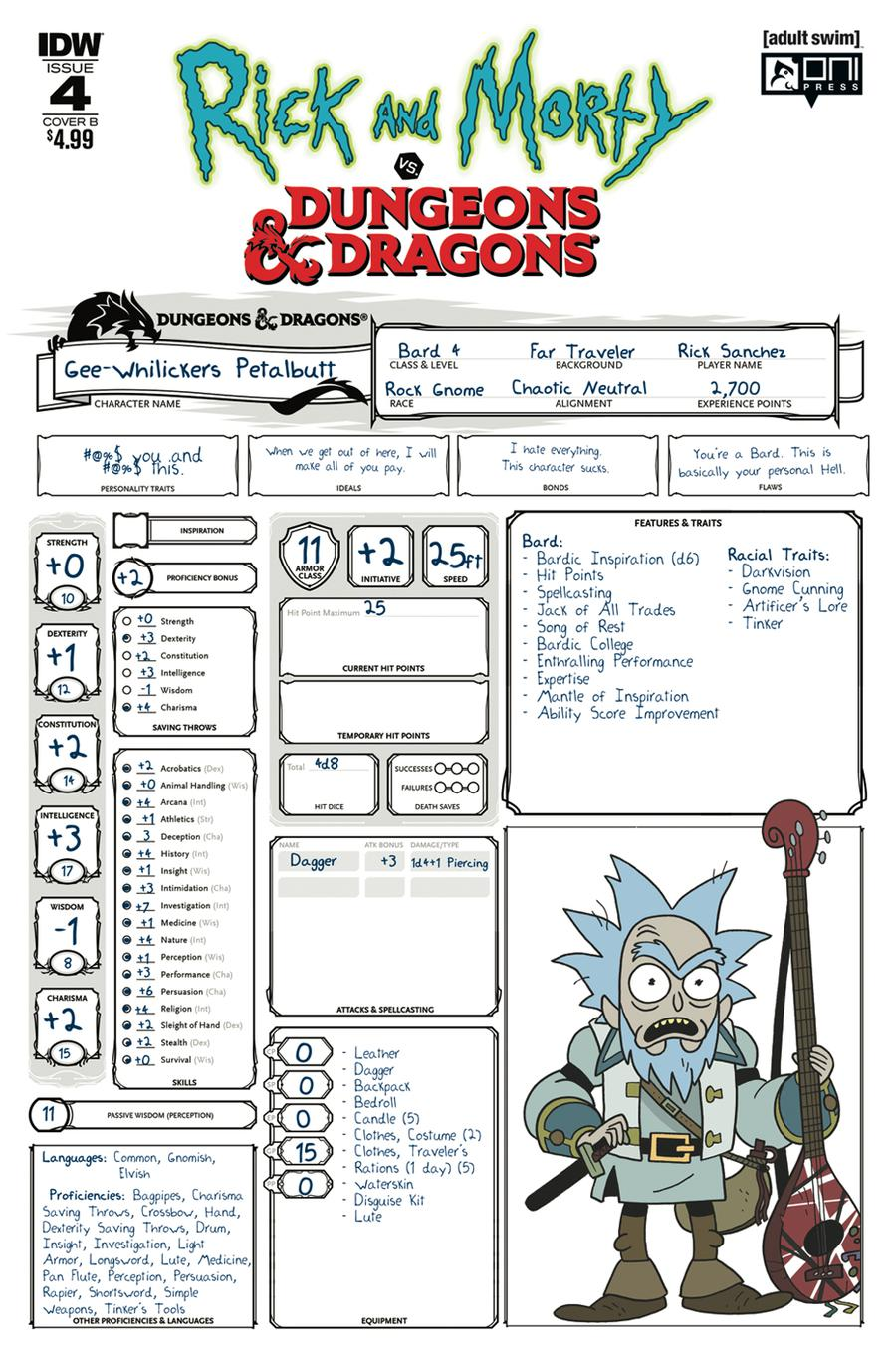 Rick And Morty vs Dungeons & Dragons #4 Cover B Variant Troy Little Cover