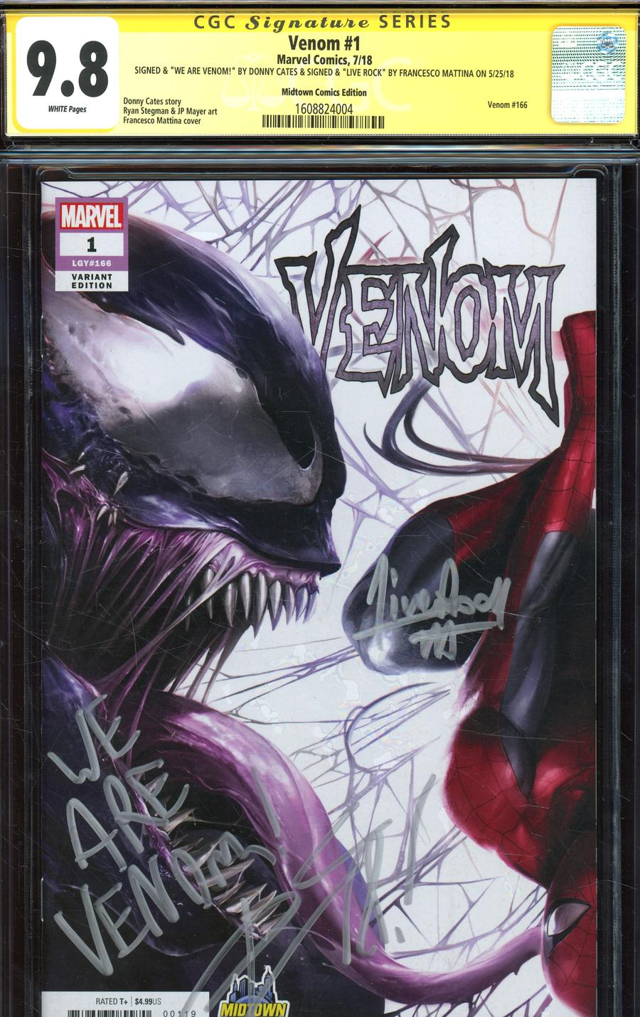 Venom Vol 4 #1  Midtown Exclusive Francesco Mattina & Will Sliney Connecting Variant Cover Signed By Francesco Mattina & Donny Cates CGC 9.8 (Left Sid