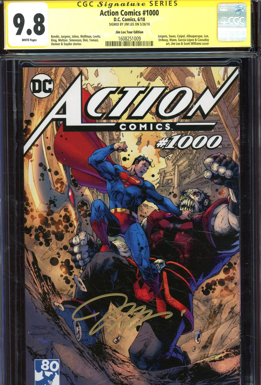 Action Comics Vol 2 #1000 Cover Z-Y Variant Jim Lee Tour Cover Signed By Jim Lee CGC 9.8