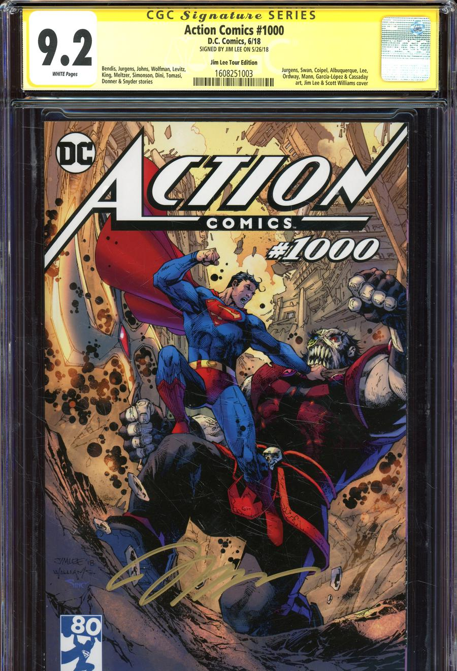 Action Comics Vol 2 #1000 Cover Z-Z Variant Jim Lee Tour Cover Signed By Jim Lee CGC 9.2