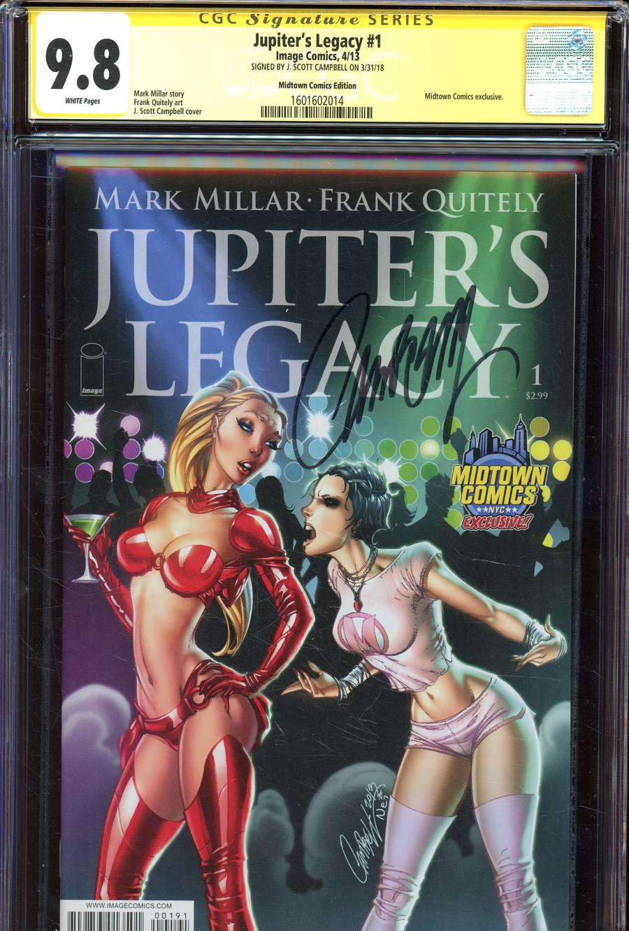 Jupiters Legacy #1  Midtown Exclusive J Scott Campbell Variant Cover Signed By J Scott Campbell CGC 9.8