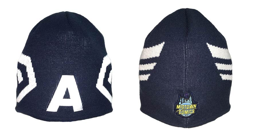 Midtown Comics Exclusive Captain America Mask A Knit Hat Oceanside Blue Powered By New Era
