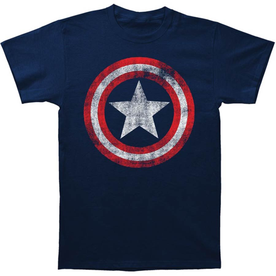 Captain America Distressed Shield Fitted Jersey Navy T-Shirt Large