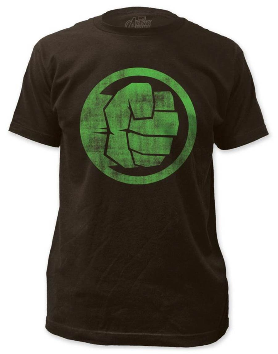 Incredible Hulk Fist Bump Fitted Jersey Coal T-Shirt Large